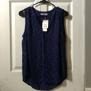 Navy and white speckled tank top, brand new